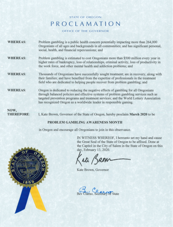 Governor Kate Brown's proclamation of 2020 Problem Gambling Awareness Month in Oregon
