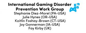 image of individuals' names comprising the International Gaming Disorder Prevention Work Group